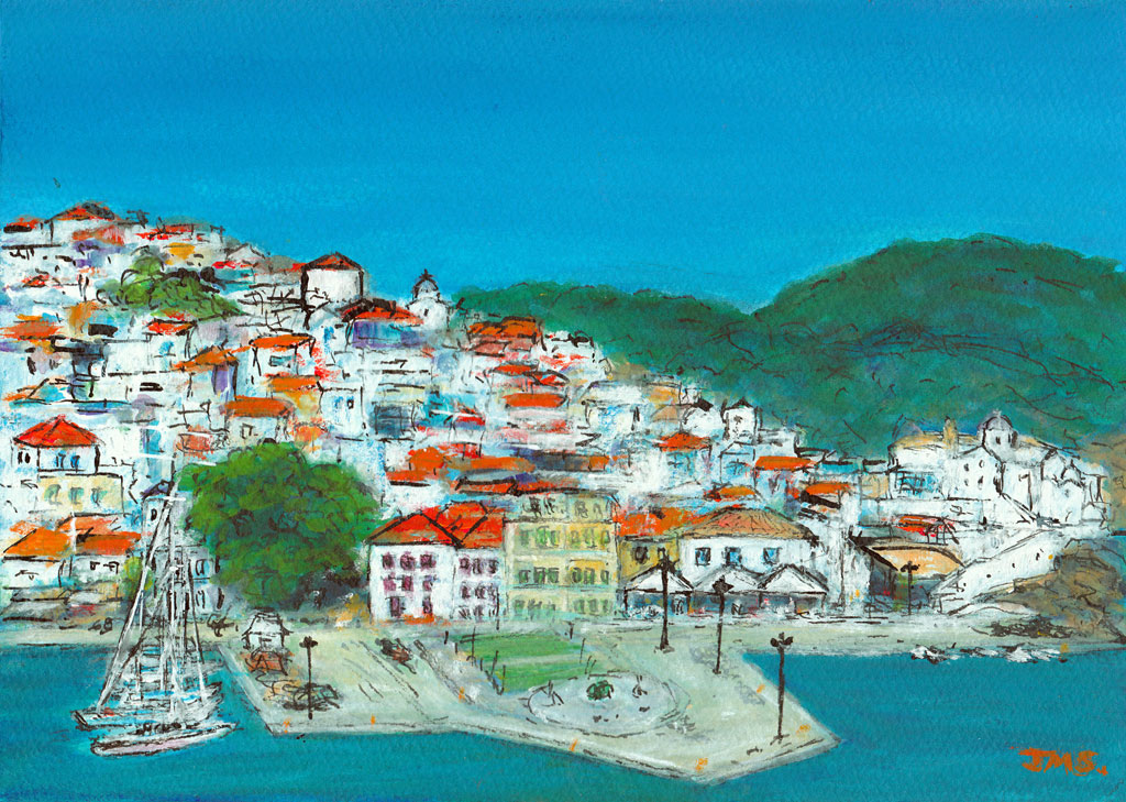 Art Weekly No 145 Skopelos Greece Jackie Sherwood Mixed Media