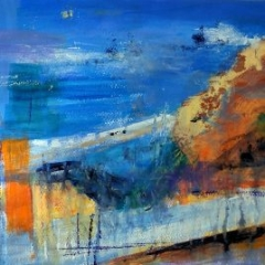 Jackie Sherwood Painting Abstracts At the Top of the Hill