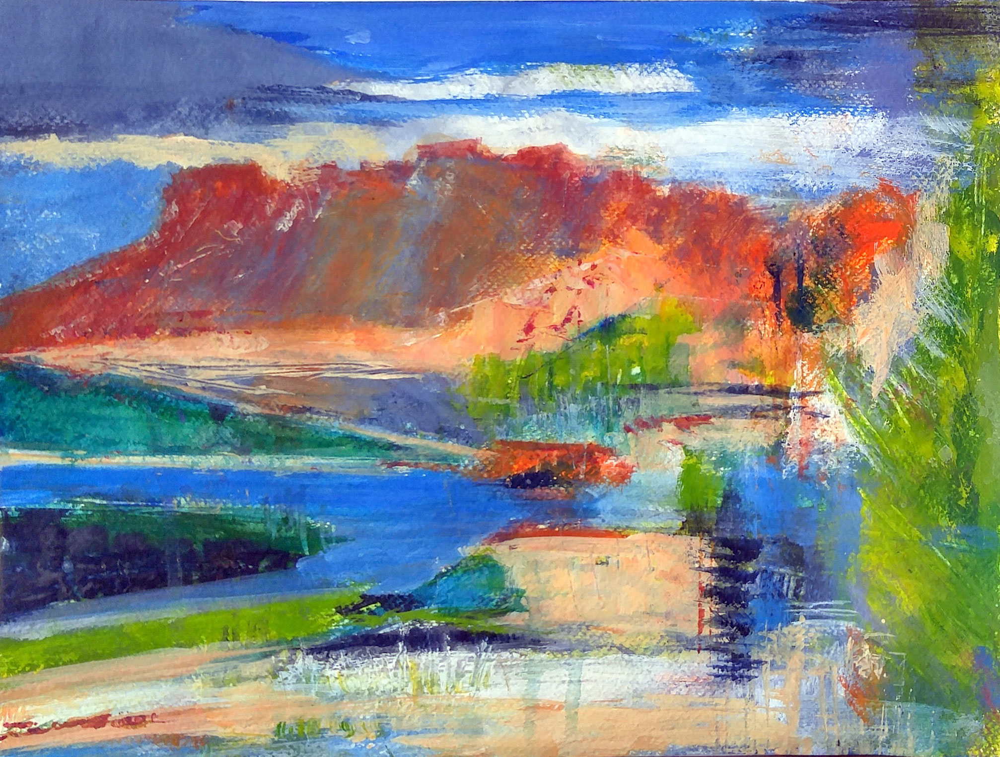 Jackie Sherwood Painting Abstracts Behind the Peak